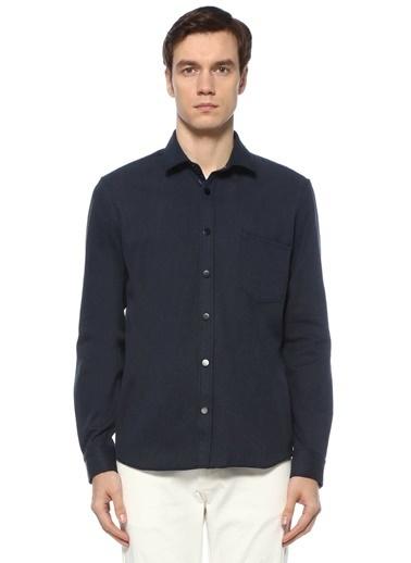 Beymen Club Beymen Club Custom Fit  Yarı İtalyan Yaka Dış Gömlek 101557519 İndigo